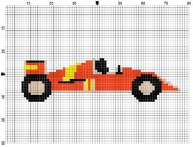 Racing Car Counted Cross Stitch Kit available in 2 colours